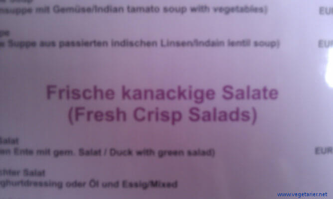 Frische kanackige Salate (Speisekarte Italien)
