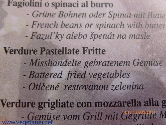 Misshandeltes Gemüse (Speisekarte Italien)