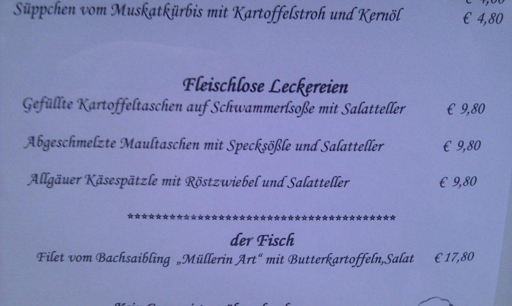 Die fleischlosen Leckereien: Maultaschen mit Specksößle.